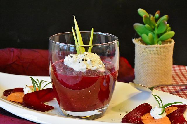 Beetroot, Soup, Soup In Glass, Starter, Vegetarian