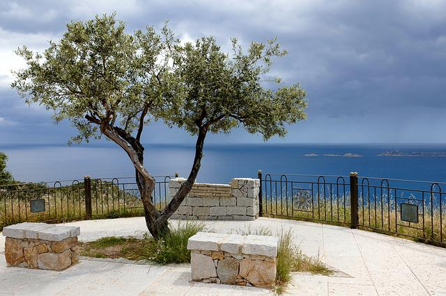 Sardinia, South East Coast, Viewpoint, Tree, Railing