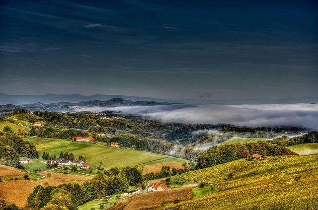 Southern Styria, Wine, Vine, Fog, Landscape, Village