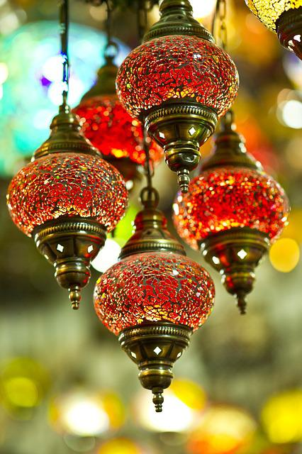 Chandelier, Lamp, Red, Istanbul, Light, Souvenir