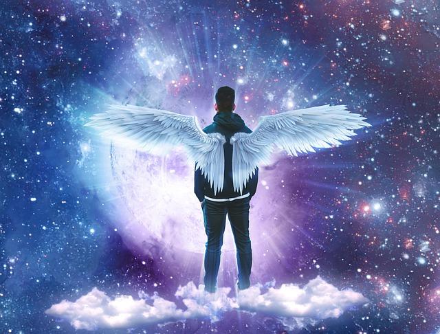 Clouds, Stars, Space, Angel, Michael, Heaven, Light