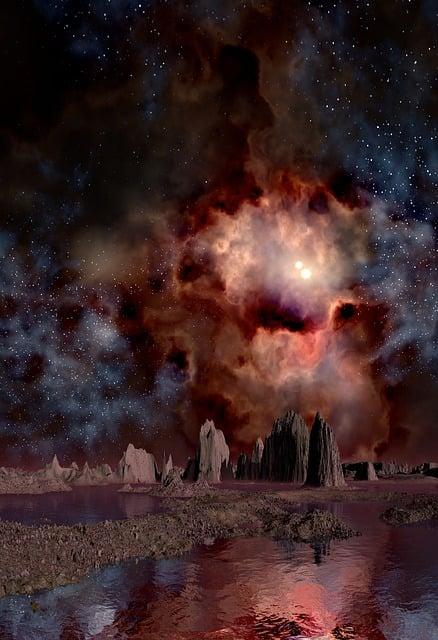 Lunar Landscape, Space, Gas Fog, Double Sun, Gas Clouds