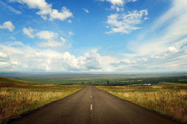 Landscape, Road, Space, Asphalt, Downhill, Summer, Sky