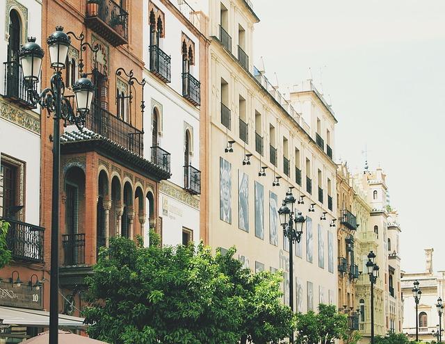Sevilla, Spain, Buildings, Architecture, Lamp Posts