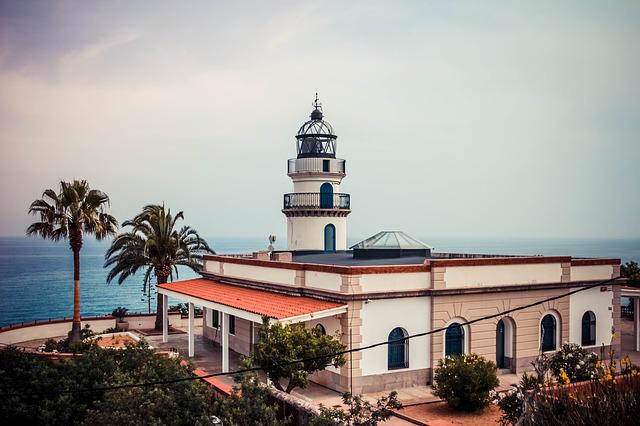 Spain, Lighthouse, Palm Trees, Calella