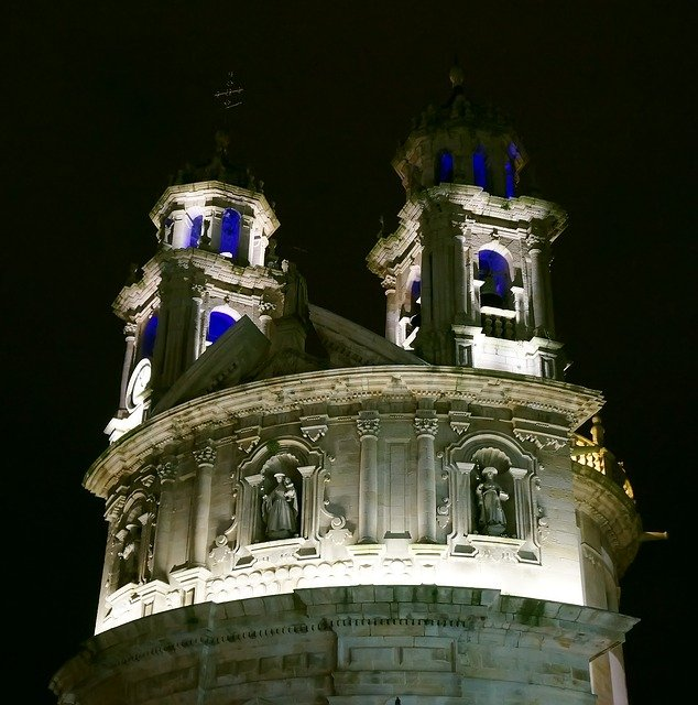 Church, Spain, Pontevedra, Night, Blue, Yellow