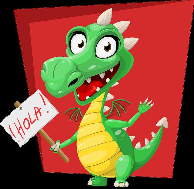 Dragon, Green, Hola, Sign, Spanish, Reptile, Cute