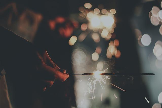 Bokeh, Firework, Hand, Sparkler