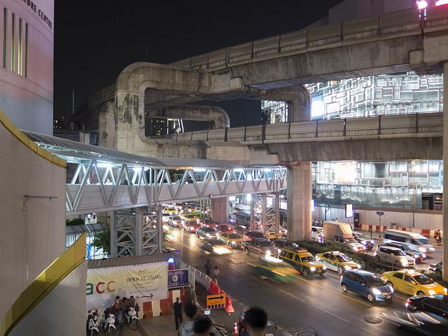 Bangkok, Skytrain, Light, City, Speed, Thailand