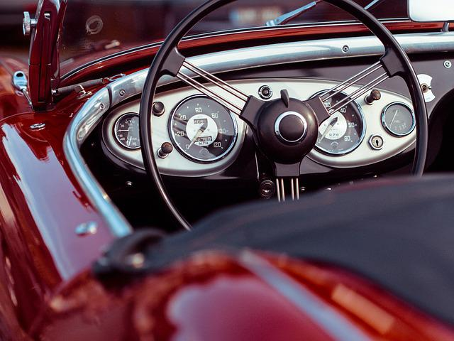 Oldtimer, Convertible, Red, Speedometer, Classic