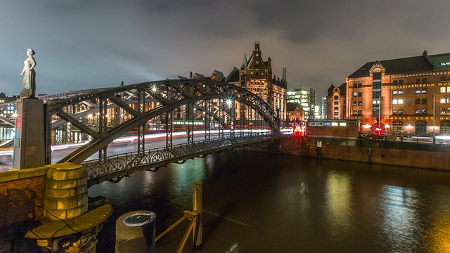 Bridge, Waters, River, Travel, City, Speicherstadt