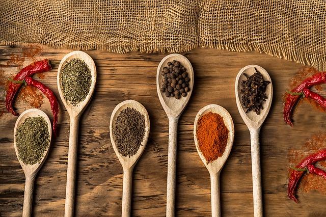 Food, Food Design, Wood, Spice, Peppers, Pepper, Spoon