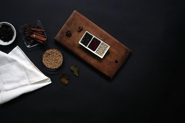 Black Background, Container, Spices, Table, White Cloth