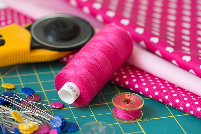 Sewing, Patchwork, Körkés, Thread, Pink, Spindle, Pin
