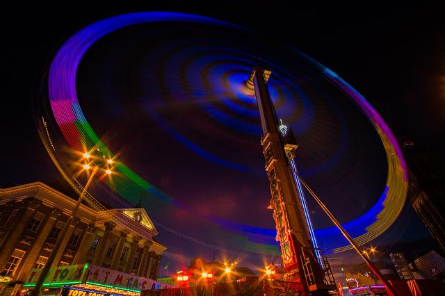Fair, Ride, Attraction, Spinning, Long Exposure, Night
