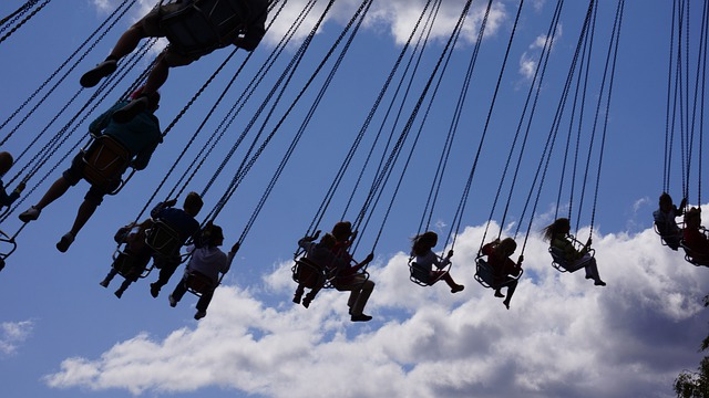Chain Swing, Amusement Park, Holiday, Spins, Rate, Up