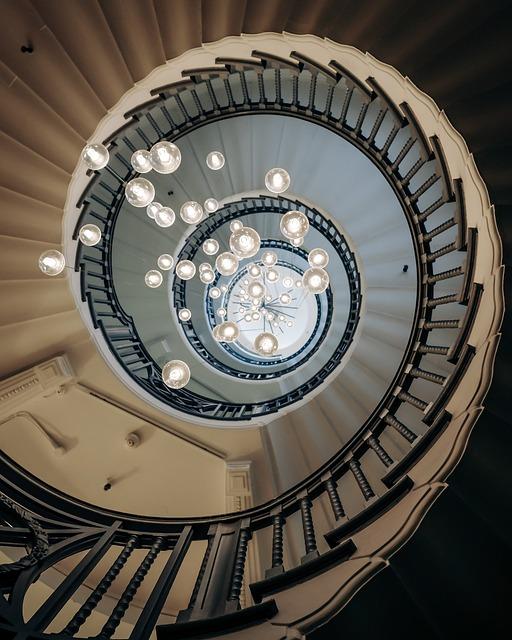 Architecture, Chandelier, Lights, Spiral Staircase