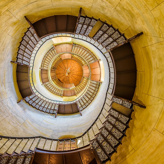Stairs, Hunting Lodge, Yellow, Spiral Staircase