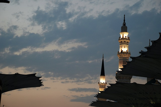 Mina, Mecca, Buildings, Towers, Spires, Illuminated