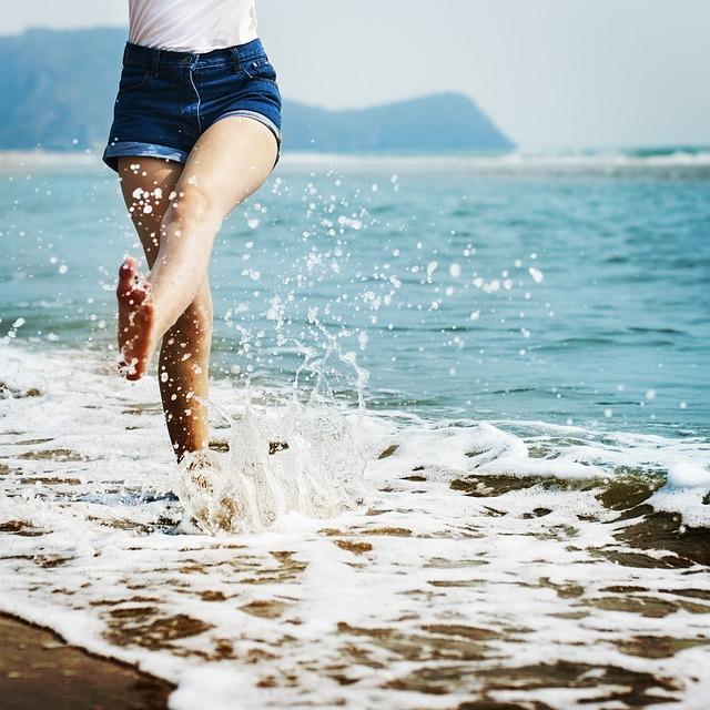 Barefoot, Splash, Waves, Beach, Coast, Coastline