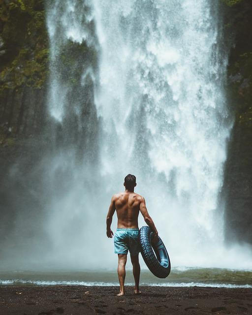 Water, Waterfall, Outdoors, Adult, Recreation, Splash