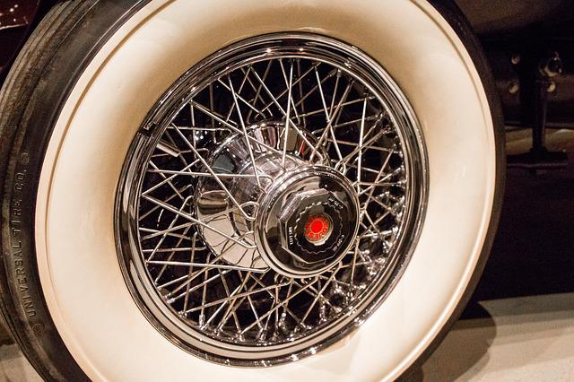 Spokes, Chrome, Wheel, Whitewall, Tire, Vintage, Old
