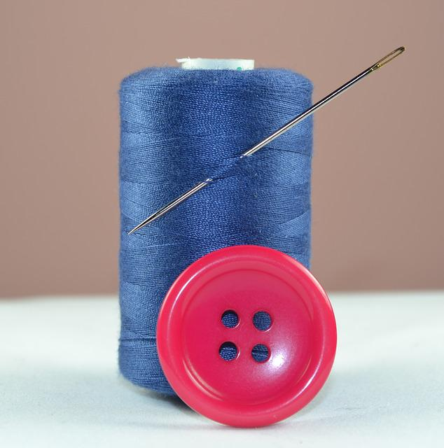 Thread, Blue, Button, Needle, Sewing, Spool Of Thread