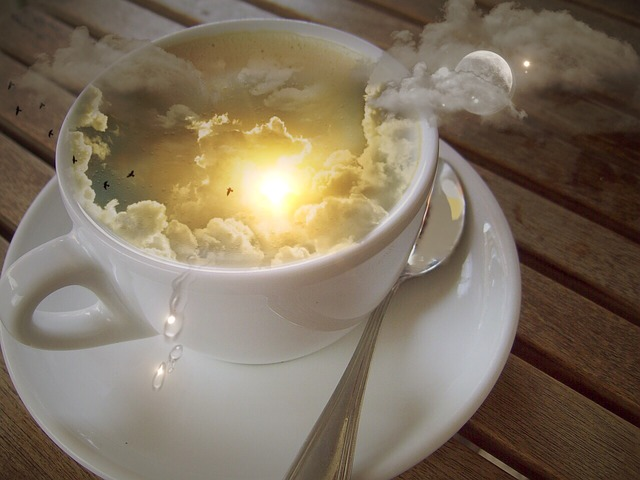 Photo Montage, Cup, Sky, Clouds, Sun, Moon, Star, Spoon
