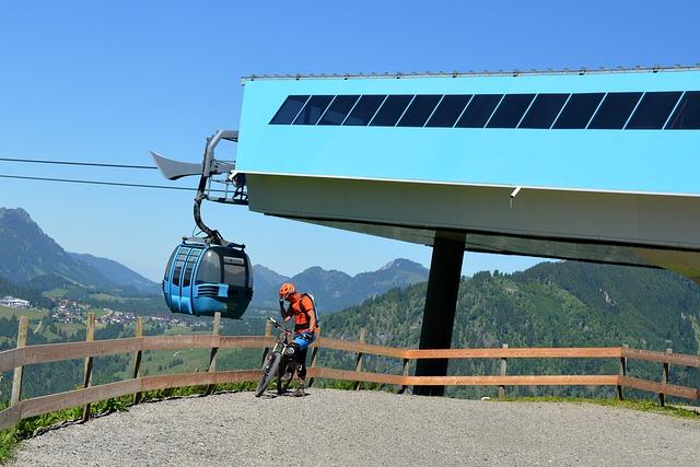 Downhill, Biker, Gondola, Ski Lift, Mountains, Sport
