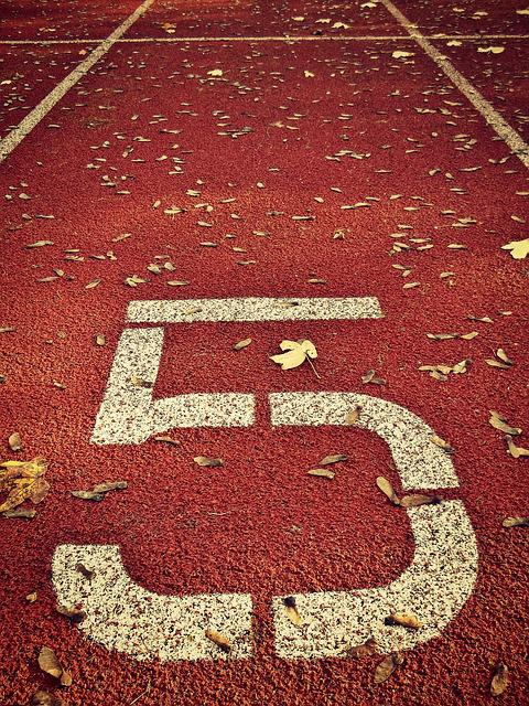 Sports Ground, Red, Number, Five, Pay, Digit
