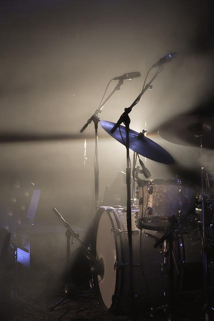 Drum Kit, Light, Spotlight, Rock, Cymbal, Drum
