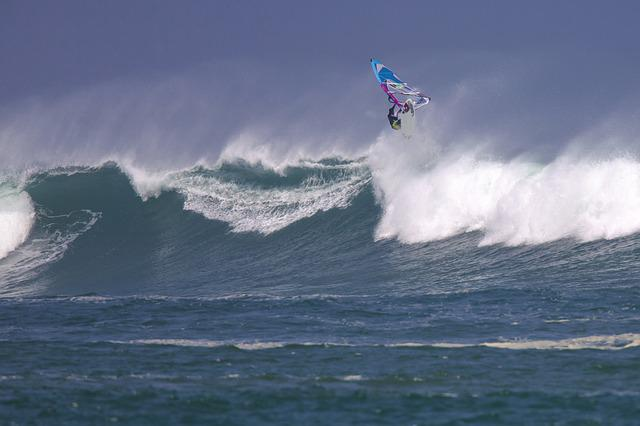Wind Surfing, Big Waves, Spray, Power, Ujung Origin