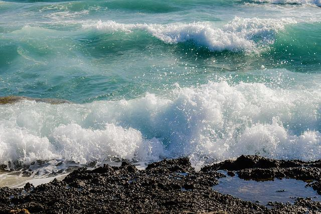 Rocky Coast, Wave, Sea, Blue, Nature, Drops, Spray