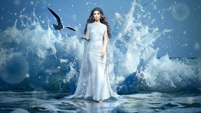 Fantasy, Girl, Sea, Spray, Gull, Water, Nature, Female
