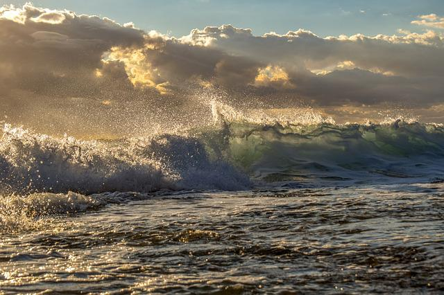 Wave, Crashing, Beach, Nature, Sky, Clouds, Spray, Foam