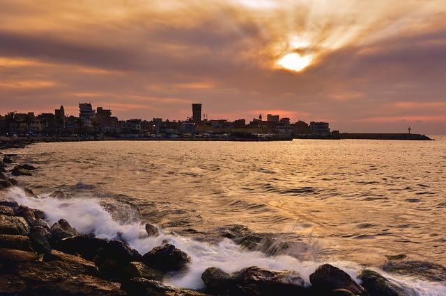 Coast, Wave, Water, Spray, Stones, Sunset