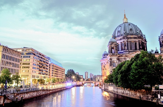 Berlin Cathedral, Berlin, City, Spree, Light, Evening