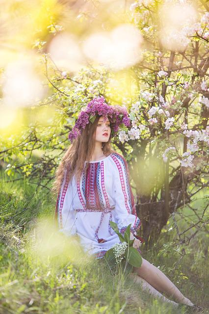Spring, Girl, Ukrainka, Embroidery, Flowers, Portrait