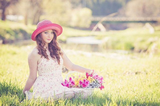 Flowers, Spring, Pink, Hat, Redhead, Beautiful, Season