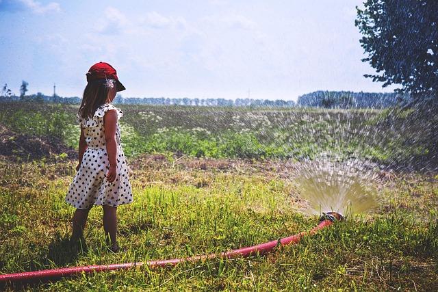 Farm, Field, Girl, Nature, Person, Sky, Sprinkler