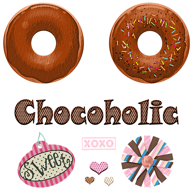 Watercolor Donuts, Sweets, Chocolate, Hearts, Sprinkles