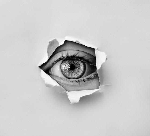 Eye, Look, Spy, Hole, Paper, Torn, Pupil, Iris, View