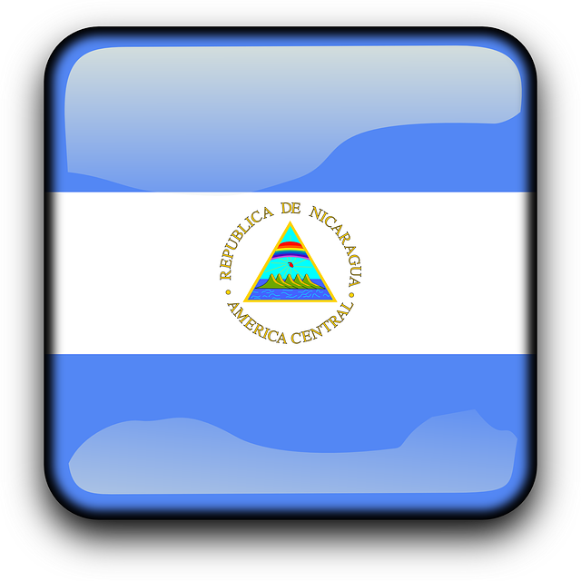 Nicaragua, Flag, Country, Nationality, Square, Button