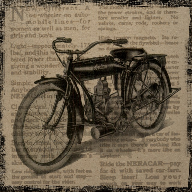 Vintage, Collage, Motorcycle, Indian, Antique, Square