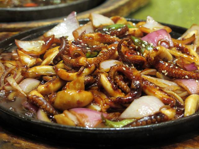 Squid, Eat, Asia, Chinese, Kitchen, Pan, Gastronomy