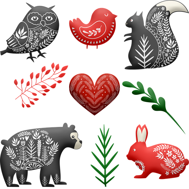 Scandia Animals, Bear, Squirrel, Owl, Heart, Botanical