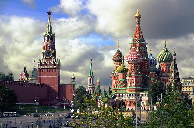 Moscow, Spasskaya Tower, St Basil's Cathedral, Russia