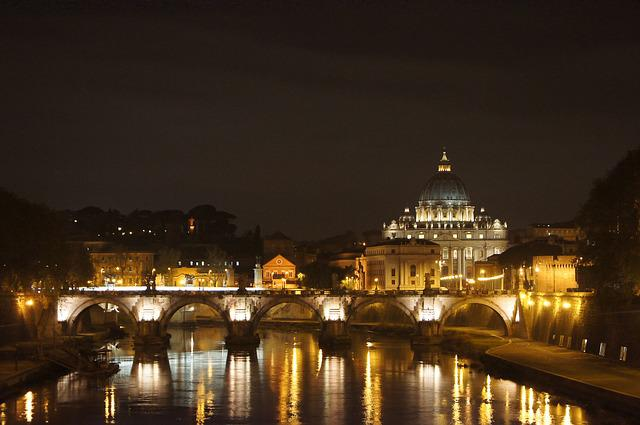 St Peter's Basilica, Night Photography, Rome, Mirroring