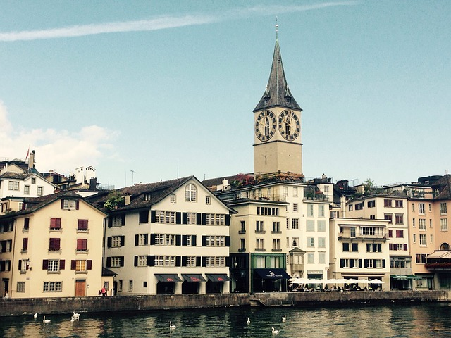 Zurich, Limmath, River, Church, Sky, St Peter's Church