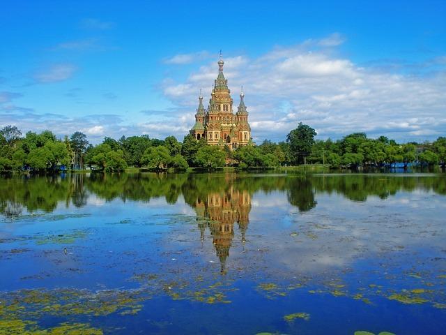 Russia, St Petersburg Russia, Peterhof, Temple, Sights
